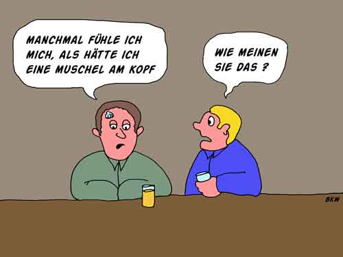 Cartoon Muschel am Kopf